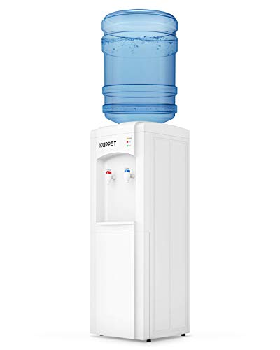 KUPPET Top Loading Water Cooler Dispenser,3 or 5 Gallon Bottle,PP Material Electrical Cooling HOT and COLD Anti-Scalding Design And Storage Cabinet With Child Safety Lock For Home Use,White
