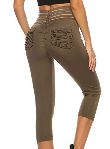 FITTOO Mallas 3/4 Leggings Mujer Pantalones de Yoga Alta Cintura Elásticos y Transpirables Verte S