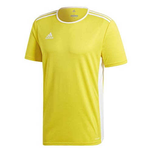 adidas Men's Entrada 18 AEROREADY Primegreen Regular Fit Soccer Short Sleeve Jersey, Yellow/White, Large