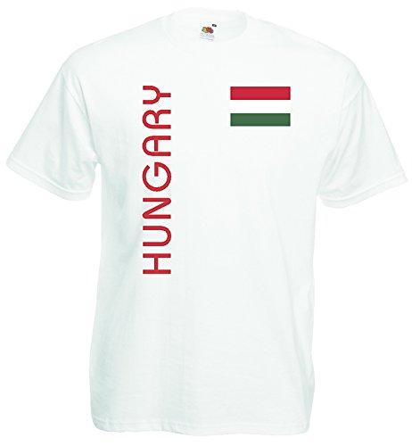 World-of-Shirt Herren T-Shirt Ungarn EM 2016 Trikot Fan Shirt|Weiss-XL