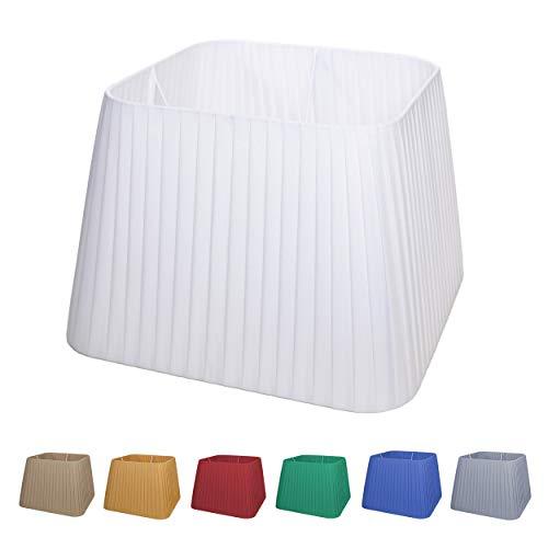 Pantalla cuadrada para lámpara de 12 colores, totalmente hecha a mano con tejido de seda italiana (verde billar, 20 cm (casquillo E14)
