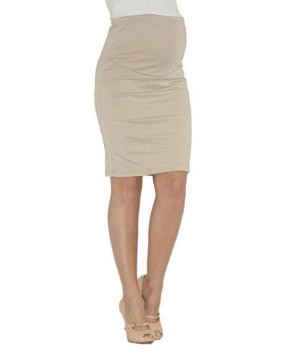 Umstandsrock Schwangerschaft Umstand Rock Midi Bleistiftrock beige L-XL