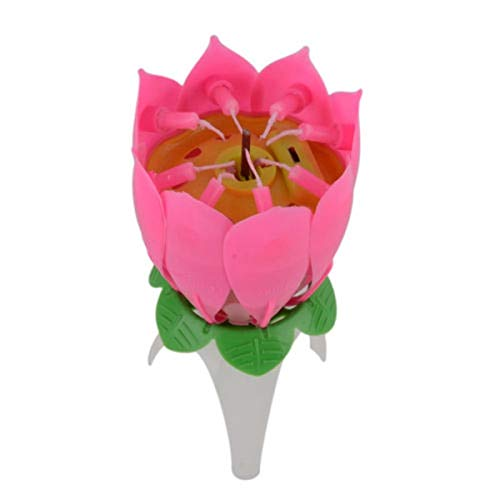 BSTCAR 2Pcs Flower Birthday Candle, Magic Musical Flower Music Happy Birthday to You Candles Novelty Blooming Lotus Flower Candle Magic Birthday Candles Romantic Gift