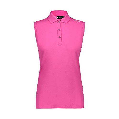 CMP Damen Ärmelloses Poloshirt Piquet aus 95% Baumwolle, Bouganville, D36