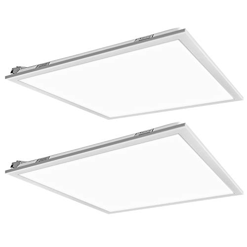 2x2FT LED Flat Panel Troffer Light, 40W 5000K Recessed Back-Lit Drop Ceiling Light, 4200lm Lay in Fixture for Office, 0-10V Dimmable, 3-Lamp F17T8 Fixture Replacement, 2 Pack