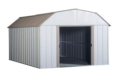 Arrow LX1014 10 x 14 ft. Barn Style Galvanized Taupe Eggshell Steel Storage Shed