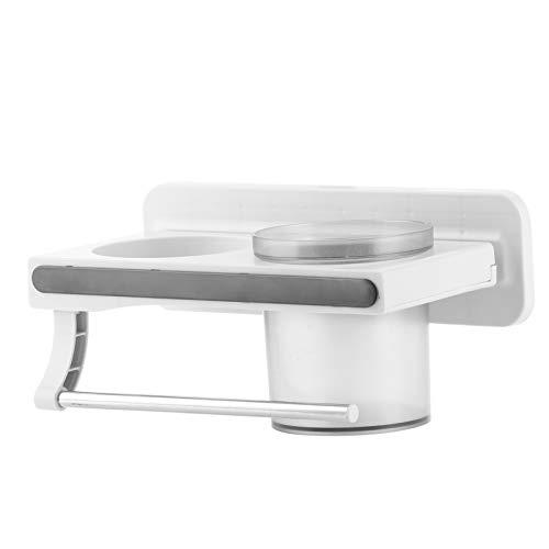 logozoee Panier de Rangement de Salle de Bain, Support de sèche-Cheveux Design Auto-adhésif, pour Salle de Bain à Surface Lisse