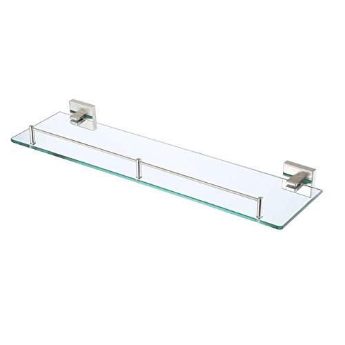 KES Glasregal Glasablage Bad Duschbalge Ohne Bohren 7mm Badablage Glas Sicher Badezimmer Wandregal Badregal Dusche Ablage Wandmontage Gebürstet, A2420ADG-2