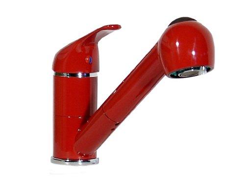 Einhebel Küchenarmatur, Spültisch, Armatur, Wasserhahn mit Geschirrbrause, rot