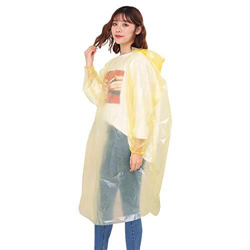 Bageek 5 STKS Regen Poncho Multifunctionele Capuchon Poncho Waterdichte Regenjas voor Volwassen Kid Geel