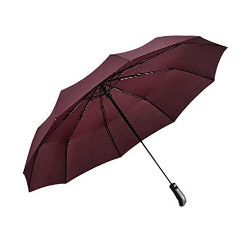 10 Knochenautomatischer Regenschirm 3 Falten Sie feste Farbe Business Herren-Regenschirm-Rotwein_33 cm