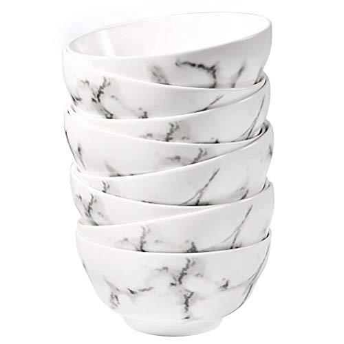 77L Porcelain Soup Bowls, [Set of 8] 8.45 FL OZ (250 ML) White Ceramic Dessert/Ice Cream Bowls, Marble Serving Bowls Set for Dessert, Ice Cream, Side dishes and More (4.5 Inches Diameter)