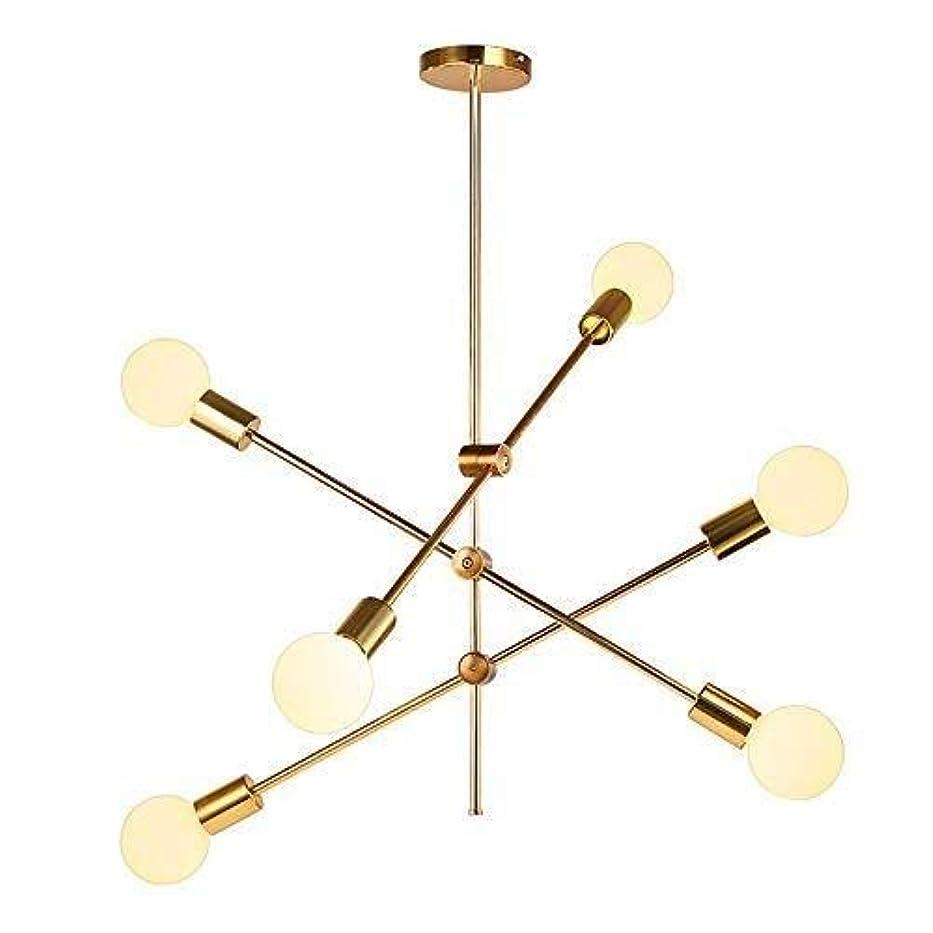 かどうか労働者プレビューCattleBie 6つのライトの照明器具北欧スタイルのベッドルーム工業風分子ランプハンギングルームレストランリビングセミフラ??ッシュマウントシーリングライトクリエイティブパーソナリティ (Color : 白色光)