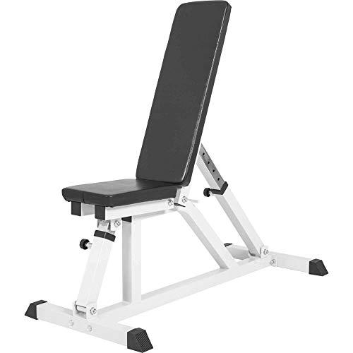 GORILLA SPORTS® Hantelbank mit Verstellbarer Sitz- und Rückenlehne Weiß – Multi-Schrägbank variabel negativ/flach bis 200 kg belastbar