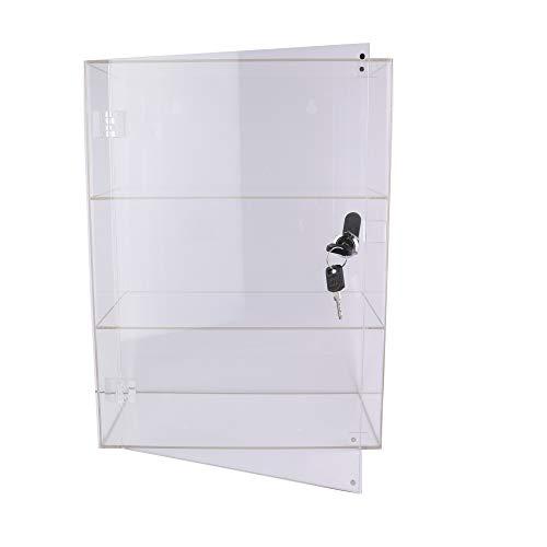 PC3721 @ Een 3-voudige vitrine van hoogglanzend, transparant acryl met voordeur en veiligheidsslot