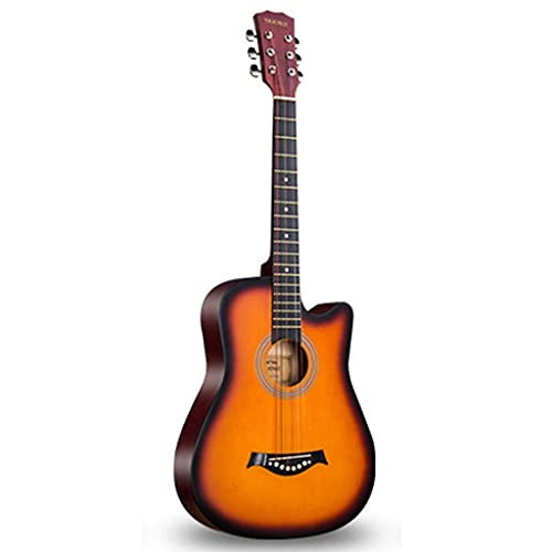 XYF Gitarre Für Anfänger 38 Zoll Akustikgitarre, Schüler-Anfängergitarre, Akustische Elektrische Reisegitarre, Mit Koffer Und Zubehör (Color : Orange, Size : 38 inches)
