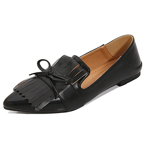 Women's Fashion Pointed Toe Tassel Slip On Loafer Flats Casual Backless Bowknot Ballet Flats Shoes Black Size 39