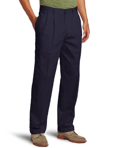 IZOD mens American Classic Fit Pleated Chino Pant, Navy, 33W x 32L
