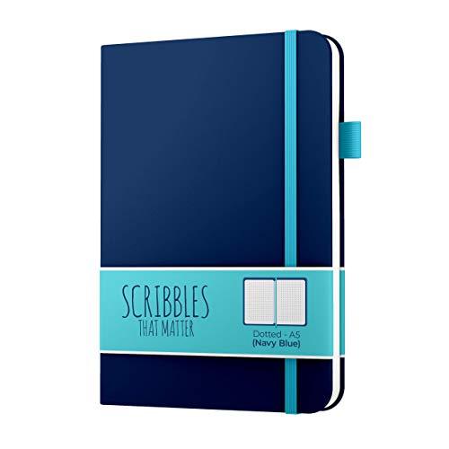 Gepunktetes Tagebuch von Scribbles That Matter - Erstellen Sie Ihr eigenes einzigartiges Life Organizer - No Bleed A5 Gepunktetes Notizbuch mit Innentasche - Pro Version - Navy blau