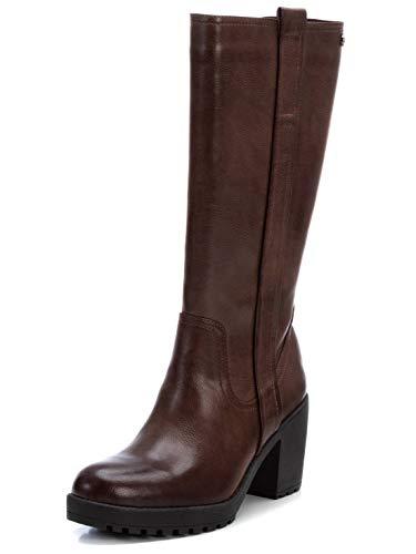 XTI - Bota alta para mujer de estilo campera - Suela de goma - Marron - 38 EU (Ropa)