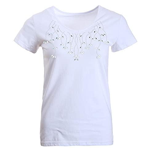 Mangas Corta Mujers Simple Moda Mujers Tops Único Elegante Y Chic Patrón De Flores Diseño Casual Diario Suelto Mujers Blusas C-White L