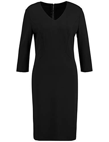 Taifun Damen Figurbetontes Kleid mit 3/4 Arm figurbetonte Passform Black 46