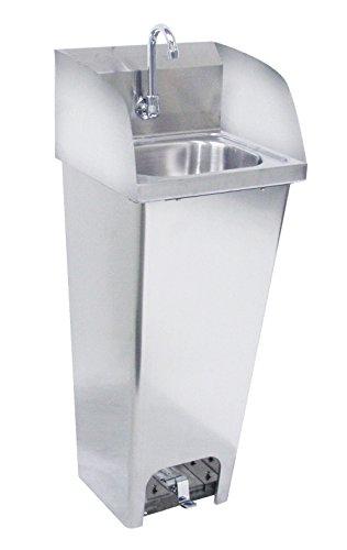 "Krowne Metal HS-40 Pedestal Mount Hand Sink w/ 14""W x 10""FtoB x 6"" Deep Bowl, Splash Mount Gooseneck Faucet with Foot Pedal Valves, Sides Splashes & Soap Dispenser"