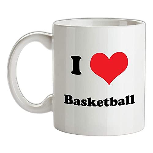 Interesting Cup - Taza de baloncesto con texto en inglés 'I Love Basketball Cup', diseño de camiseta y pelota de canasta, 11 onzas