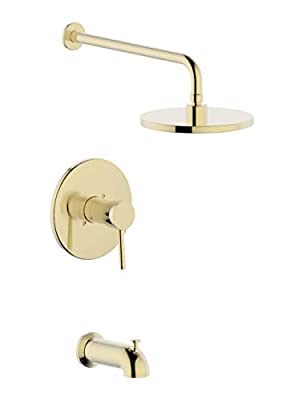 Derengge TS-1085-CS Single Handle Tub & Shower Faucet, Pressure Balanced Valve,Anti-Scald,with 8 Inch Showerhead,14 Inch Shower Arm and Spout,Meets UPC,cUPC,ASSE1016 Standard,Brushed Gold Finished