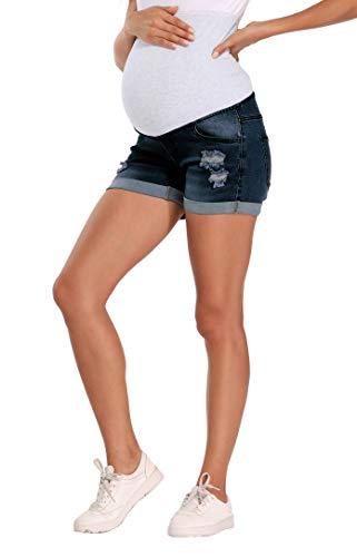 Kegiani Maternity Over Belly Wide Elastic Band Waist Denim Shorts Summer Pregnancy Shorts Blue Jean Shorts (12 Dark Blue, Large)