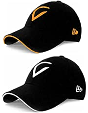 V White and Orange Combo CAPS for Men's and Women's (Free Size)