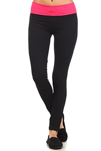MOPAS Yoga Pants with Fold Over Solid Waistband Pink Size S