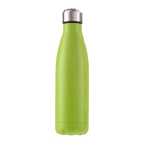 B/H Frasco de vacío de Acero Inoxidable de Color Creativo, Botella de Deportes de Gran Capacidad a Prueba de Fugas para Exteriores portátil-Green_500ml