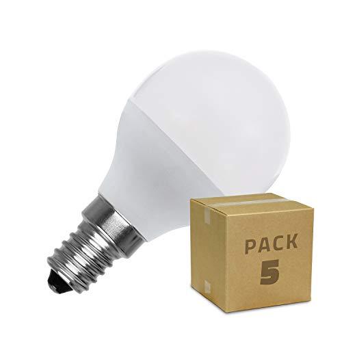 LEDKIA LIGHTING Pack Bombillas LED E14 Casquillo Fino G45 5W (5 un) Blanco Cálido 2800K - 3200K