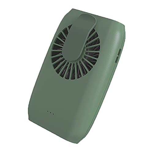 LABYSJ Mini Ventilador USB de Cuello, con Cuerda de muñeca y Cuerda de Cuello Colgante y Soporte, Banco de energía de Doble Uso Ajustable de 3 velocidades, para Viajes casa Pesca al Aire Libre,Verde