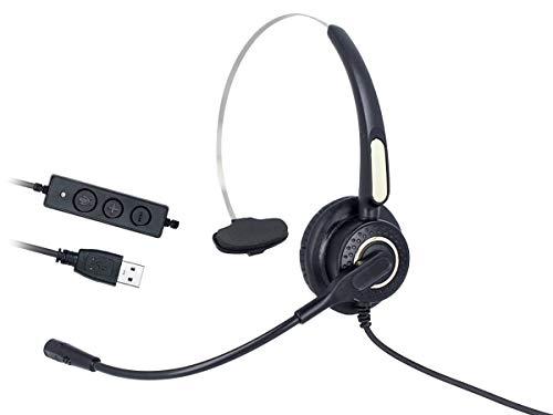 Ledlux VH500S - Auriculares monoaurales con USB, micrófono auricular...