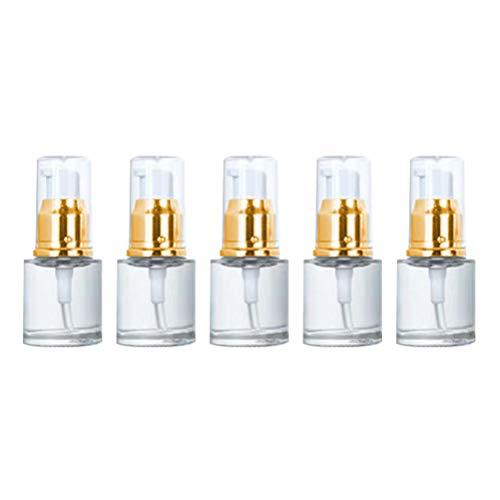 3pcs Pompe Vide Bouteille de Bouteilles cosmétiques Bouteille d'huile Essentielle Bouteilles vides Bouteille de Pompe Portable (Or et Blanc 20 ML)