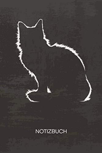NOTIZBUCH A5 Dotted: Katzenbesitzer Notizheft GEPUNKTET 120 Seiten - Katzen Silhouette Notizblock Katzengeschenk Skizzenbuch - Kätzchen Geschenk für Katzenliebhaber Katzenbesitzer Katzenfreund