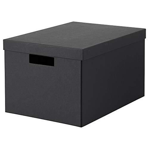 Aufbewahrungsbox mit Deckel schwarz, aufgebaut Maße: Länge: 35 cm, Breite: 25 cm, Höhe: 20 cm, Material: Papier, gebleichtes chlorfreies Papier