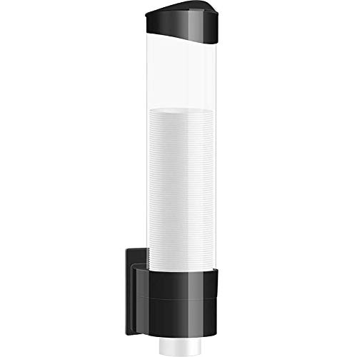 """Samhe Medium Pull Type Cup Dispenser, Paste or Screw Plate Mountable Cups Holder, Fits 5oz - 7oz Cone or Flat Bottom Cups, 16"""" Tube Length, Mounting Water Dispenser Cooler or Wall (Medium, Black)"""