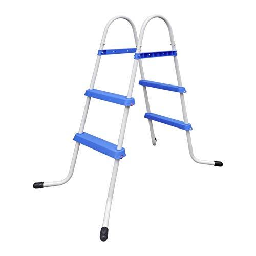 Tidyard Pool Leiter mit 2 Stufen auf jeder Seite Sicherheitsleiter Poolleiter Schwimmbadleiter Badeleiter für Schwimmbad Schwimmbecken Hochbeckenleiter Stahl 86,5 cm Max. Belastbarkeit 150 kg Blau