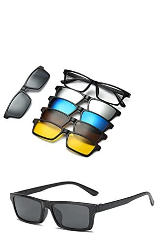 New JJ Sonnenbrillen Herren Magnetclip Sonnenbrille Damen Magnetclip Optische Myopie Brillengestell mit 5 Sonnenbrillengläsern