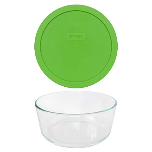 Pyrex (1) 7203 7 Cup Glass Dish & (1) 7402-PC 6/7 Cup Green Lid