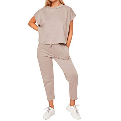 EULAGPRE Womens 2Pcs Kurzarm Tops Hosen Lounge Wear Sommer Trainingsanzug Jumpsuit (Khaki,S)