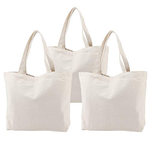 Canvas Tote Bag with Zipper, 3PCS Segarty 16.5x13 inch Natural Cotton Heavy DIY Tote for Crafting, Ironing and Embroidering, Reusable Grocery Shopping Bag