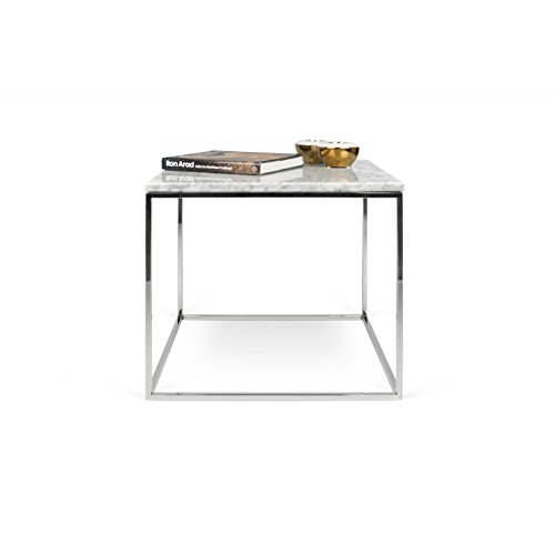 Paris Prix - Temahome - Table D'appoint Gleam 50cm Marbre Blanc & Métal Chromé
