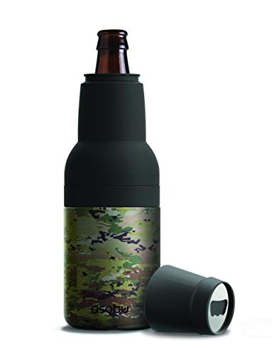 Asobu Frosty Beer 2 Go Vacuum Insulated Double Walled Stainless Steel Beer Bottle and Can Cooler with Beer Opener (Camouflage)