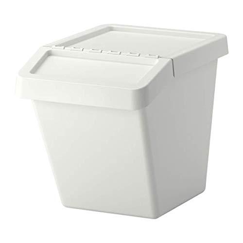IKEA Sortera 702.558.99 - Papelera de reciclaje con tapa, color blanco