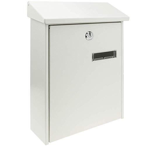 PrimeMatik - Metalen brievenbus voor brieven en post in witte kleur 235 x 75 x 315 mm