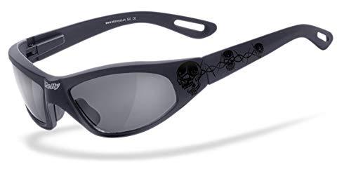 HELLY® - No.1 Bikereyes® | Bikerbrille, Motorradbrille, Motorrad Sonnenbrille | TRIBAL-BRILLE: beschlagfrei, winddicht, bruchsicher | TOP Tragegefühl bei langen Ausfahrten | Brille: black angel